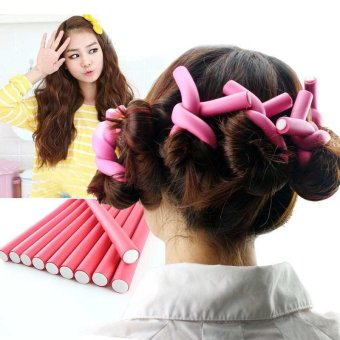 Harga 10pcs Soft Foam Bendy Twist Curler Sticks DIY Hair Design Maker Curl Roller Tool(Multicolor)