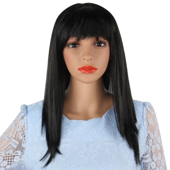 Harga Long Straight Wigs Fancy Dress Cosplay(Black)