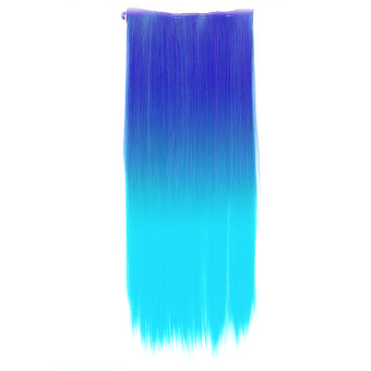 Harga One Piece Synthetic Straight Two Tone Ombre Hairpiece Clip-on Wig Hair Extension Beauty Tool Sapphire Blue to Light Blue