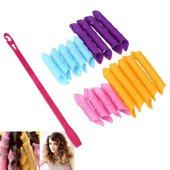 Harga DIY 18pcs Fashion Hair Curlers Hair Styling Spiral Ringlets Perm Magic Circles