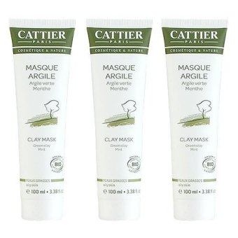 3 x Cattier Green Clay Mint Face Mask (Oily Skin) 3.38oz, 100ml - intl