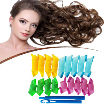 Harga 18PCS/Set Styling Magic Curl DIY Hair Curlers Tool Rollers Spiral Circle Rollers