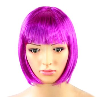 Harga Gracefulvara Lady Women Fashion Short Straight Bob Hair Full Wigs Wig Cosplay Party Wig (Purple)