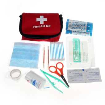 Harga Emergency Survival First Aid Kit Pack Travel Medical Sports Home Bag (Red)
