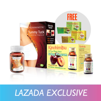 Harga Kinohimitsu Perfect Tummy Set (Tummy Tuck 60's + D'Tox Plum Juice 6's + Free D'Tox Tea 3's)