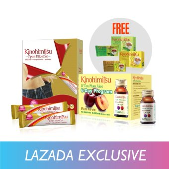 Harga Kinohimitsu Perfect Slimming Set (Kiloscut 30's + D'Tox Plum Juice 6's + Free D'Tox Tea 3's)
