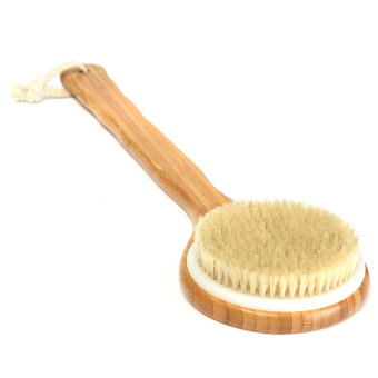 Harga Bristle Long Handle Wooden Bath Shower Body Back Brush Spa Scrubber Exfoliating