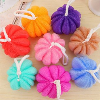 Harga 3 pcs New Fashion Pumpkin Shaped nylon Exfoliante Bath ball Sponge Body Shower Brush Back Scrubber Body cleaner(Color: random) - intl