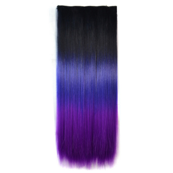 Harga 60cm One Piece Synthetic Straight Three Colors Ombre Hairpiece Clip-on Wig Hair Extension Black to Deep Purple to Purple