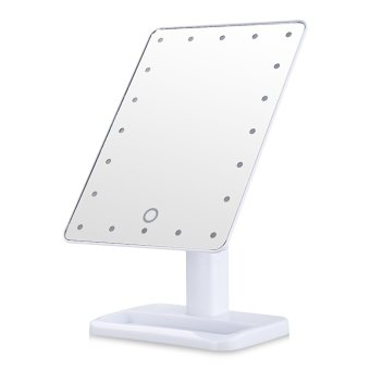Harga L207 LED Touch Screen Makeup Mirror Portable 20 LEDs (White)