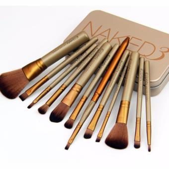 Harga Metal box 12pcs/set NAKED3 Makeup Cosmetic Brushes Set professional Powder Foundation Eyeshadow Lip Brush Tool beauty essentials - intl
