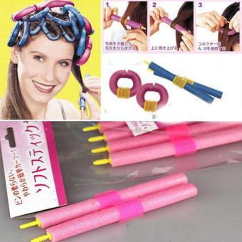 Harga 12Pcs New Safe Foam Curlers Bendy Hair Curls DIY Hairdressing Rollers Strip