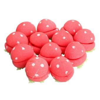 Harga 12Pcs Sponge Strawberry Balls Hair Rollers Curlers DIY Hairdressing Tool - intl