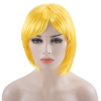 Harga Women Short BOB Wig Fancy Dress Cosplay Party Costume(Yellow)