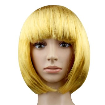 Harga Gracefulvara Lady Women Fashion Short Straight Bob Hair Full Wigs Wig Cosplay Party Wig (Yellow)