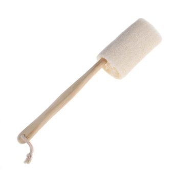 Harga Natural Loofah Long Wood Handle Shower Bath Body Back Brush - intl