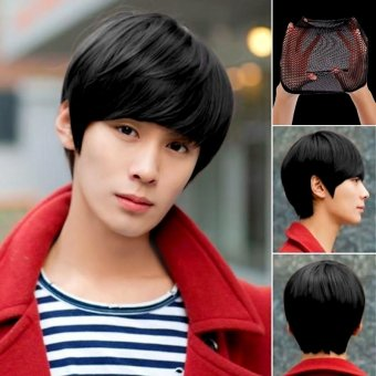 Harga Gracefulvara Fashion Men's Handsome Short Straight Cosplay Party Hair Wig Full Wigs + Wig Cap (Black)