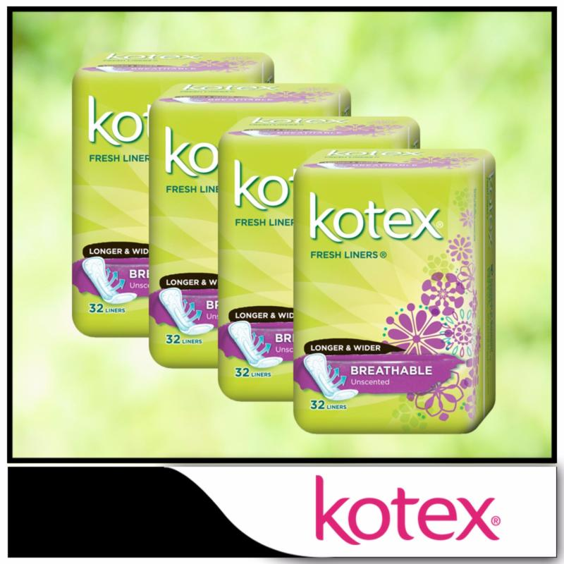 Buy Kotex Fresh Liners Breathable Unscented Longer & Wider 32pcs x 4 packs Singapore