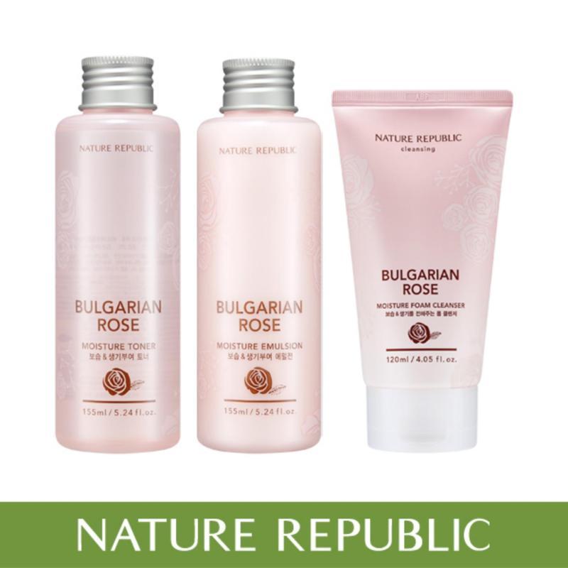 Buy Nature Republic Bulgarian Rose Set (Moisture Toner 155ml & Emulsion 155ml & Foam Cleanser 120ml) Singapore