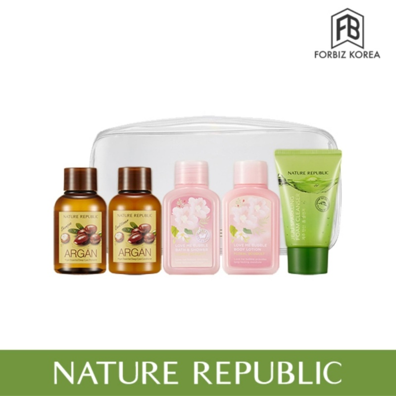 Buy Nature Republic Travel All-in-One Kit (Argan Essential shampoo 50ml + Conditioner 50ml + Love Me Bubble Bath and Shower Gel 50ml + Body Lotion 50ml + Jeju Sparkling Form Cleanser 30ml) Singapore