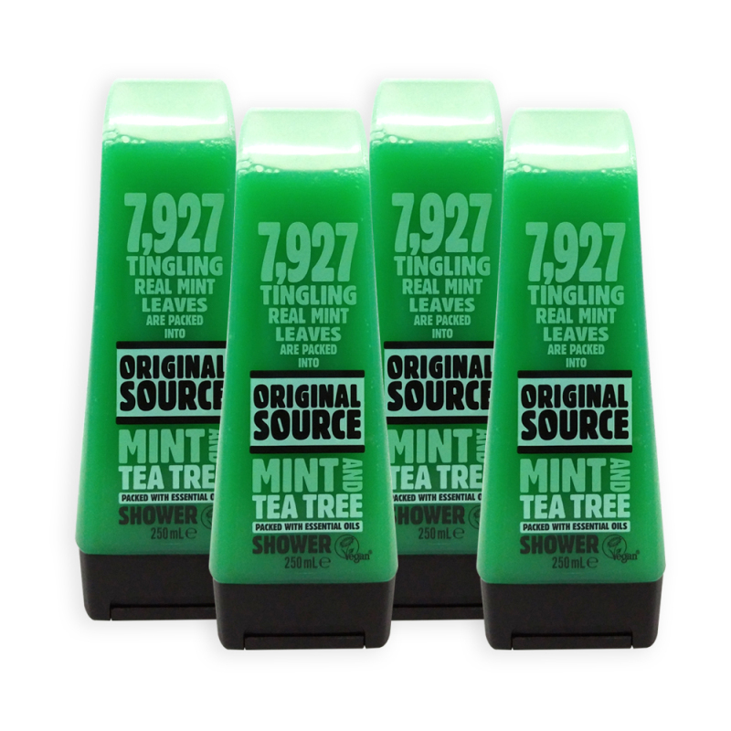 Buy Original Source Mint And Tea Tree Shower Gel with Essential Oils 250ml x 4 Bottles - 6474 Singapore