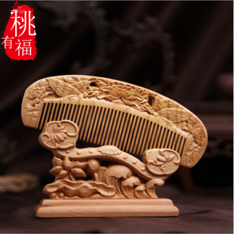 Peach blessed carved natural mahogany comb carved woodenanti-static anti-hair loss No. Comb gift comb blessing evil - 2