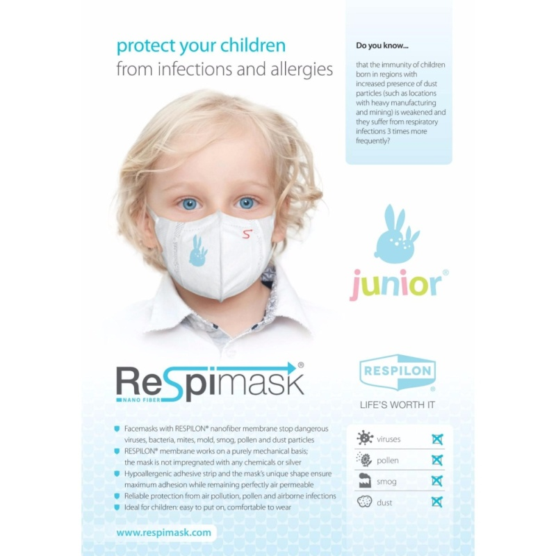 Buy Respilon Nano Membrane Face Mask for Children S+, 5 to 10 years old Singapore