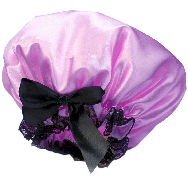 Buy Satin Waterproof Double Layers Elastic Band Hair Bath Cap Shower Hat with Bow and Lace Purple (Intl) Singapore
