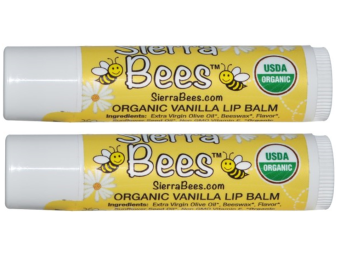 Sierra Bees, Organic Creme Brulee Beeswax Lip Balm, pack of 2