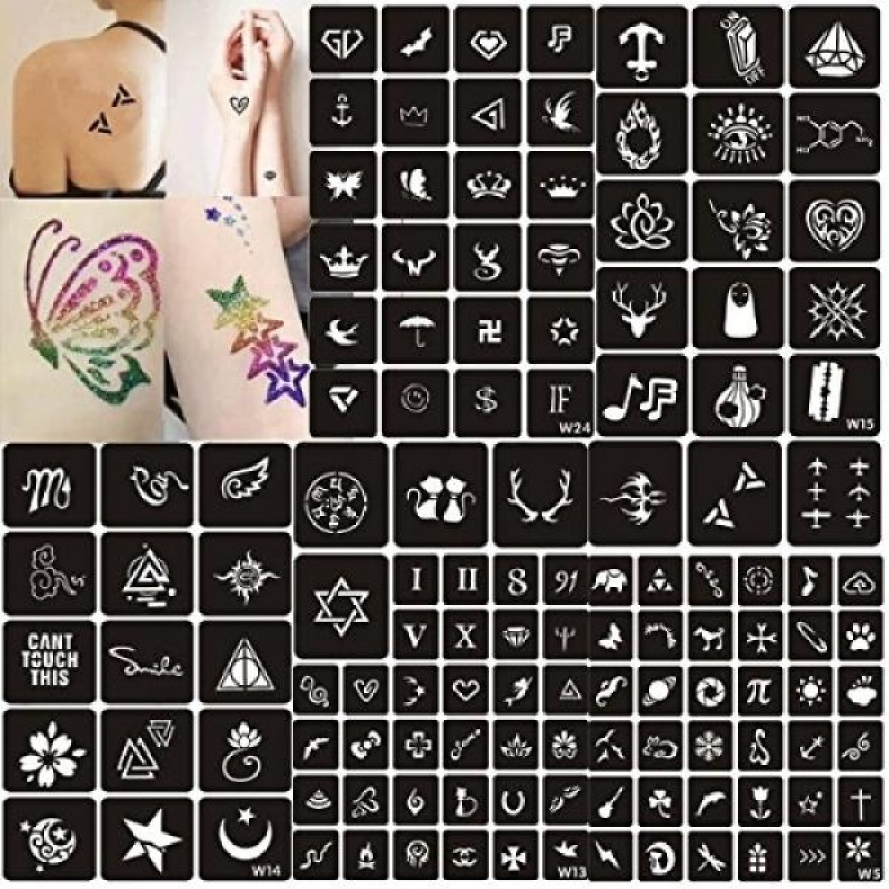 Buy Tattoo Stencils,129 Sheets Adhesive Stencils Template Uniquely Themed Stencils Kit For Glitter Tattoo Body Art Design - intl Singapore
