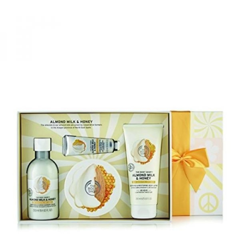 Buy The Body Shop Almond Milk and Honey Premium Collection Gift Set, 4pc Paraben-Free Bath and Body Gift Set - intl Singapore