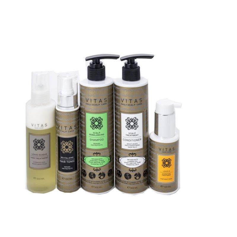 Buy Vitas Pro Scalp Rebalancing Shampoo & Conditioner + Tonic & Leave-in Aqua & Hydrating Hair Treatment - Wavy Hair Singapore