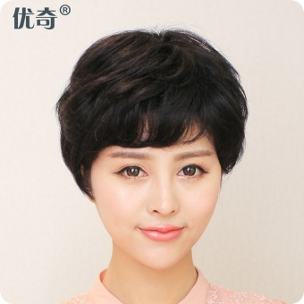 Harga Youqi wig short hair female Bobo head short hair real hair obliquebangs fluffy fashion repair face entire top wig