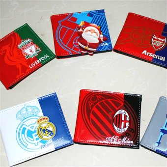 Harga Laminated WALLET ac milan chelsea real madrid liverpool wallet two fold wallet