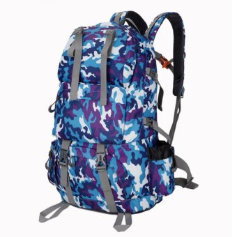 Harga Free Knight 50L Waterproof Nylon Backpack Outdoor Travel Camp Lovers Large Capacity Mountaineering bag(Camouflage blue) - intl