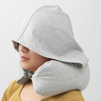 Harga Portable Travel Hooded Neck Pillow U-Shaped Neck Suppor - intl