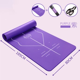Harga Mimosifolia Cardio Training Exercise Fitness Beginner Auxiliary line Comfort Anti-Slip Yoga Mat Pilates Fitness mat with Carrying Strap 80X185X1CM Purple - intl