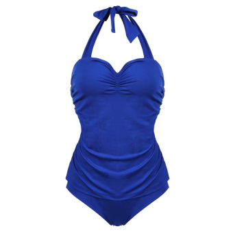 Sunweb Women Sports Swim Surf Wear Swimsuits Halter Strap Padded Push Up One Piece Swimwear Swimsuit ( Blue )