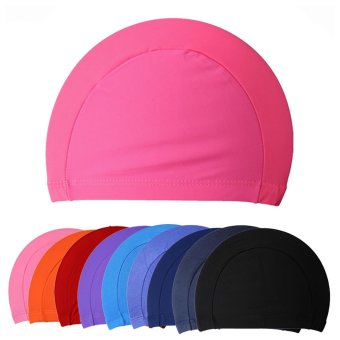 10pcs Unisex Adult Kid Swimming Hat Beach Cloth Fabric Caps Hat Solid Pattern Assorted color