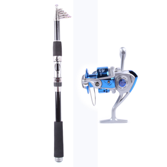 Harga Telescopic Fishing Rod Fishing Pole Rods Saltwater Travel Spinning Fishing Poles 3.6M+Rocker Reel Fishing Spool Vessel Fish Reel Rod Sea Spinning Wheel Line Gear FB6000 (Blue)