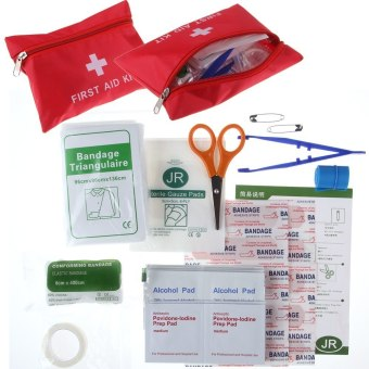 Harga 35pcs Home Sports Travel Medical Emergency Survival FIRST AID KIT Bag Treatment