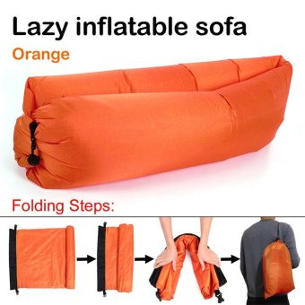 Fast Inflatable Chair Lounger Air Sleep Camping Sofa Beanbag Beach Nylon Fabric Lounge Lazy Sleeping Bag Bed Outdoor (Orange)