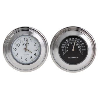 Harga Motorcycle Bike Handlebar Mount Clock And Thermometer Temp - intl