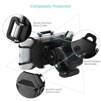 Harga Bike Mobile Phone Installation Bike Mobile Phone Holder, Universal Mobile Phone Bicycle Handle and Motorcycle Bracket Rubber Band, 360 DegreeRotation, Anti-Skid Cradle Clamp Smartphone Gps and - intl