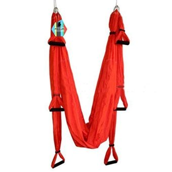 Harga Pellor Deluxe Air Flying Yoga Hammock Aerial Yoga Hammock Belt Fitness Swing Hammock With 440Lb Load (Red) - intl