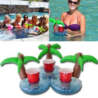 Harga BU HOT Unique Floating Palm Island Inflatable Drink Can Holder Pool Bath Toys Party - intl