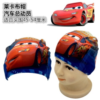 Harga Children's cartoon swimming cap hair Spider Man silicone cap VISHARK cap ear breathable Dora princess waterproof swimming cap