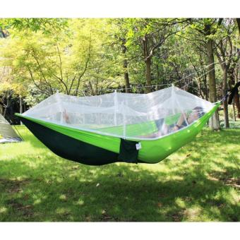 Harga Portable High Strength Parachute Fabric Camping Hammock Hanging Bed With Mosquito Net Sleeping Hammock-Green & Dark Green - intl