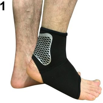Harga Broadfashion Fashion Elastic Ankle Brace Protector Foot Wrap Support Guard Sports Sprain L (Black) - intl