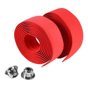 Harga 2PCS Bicycle Anti-slip Handlebar Tape With 2 Bar Plugs(Red) - intl